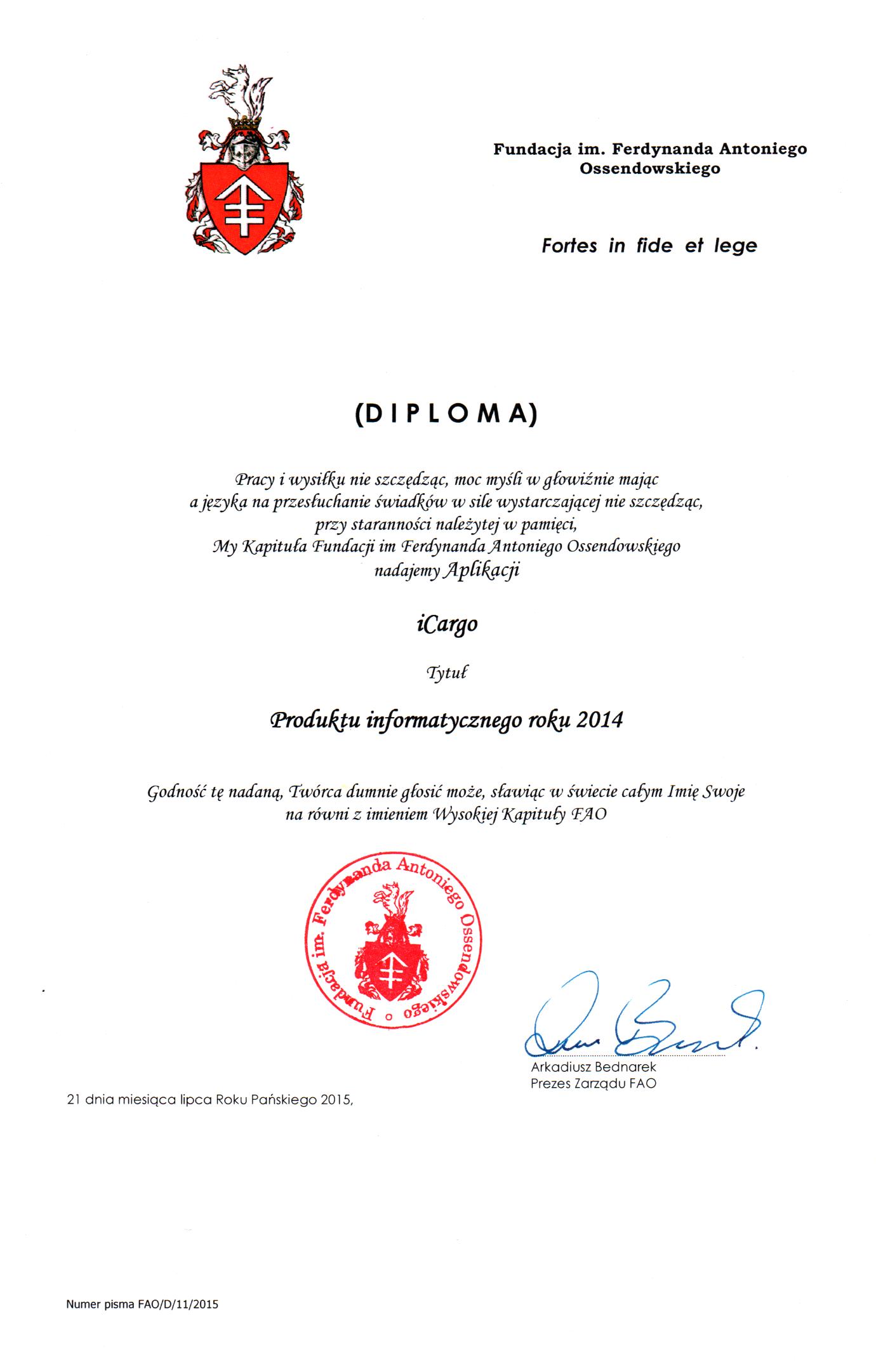 Dyplom dla iCargo z nadaniem tytułu Produktu informatycznego roku 2014